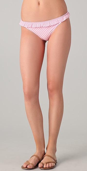 Shoshanna Gingham Ruffle Bikini Bottoms