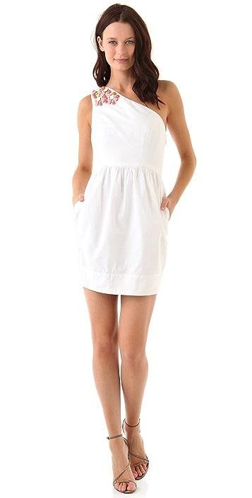 Shoshanna Candice One Shoulder Beaded Dress