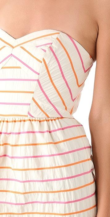 Shoshanna Frannie Striped Strapless Dress