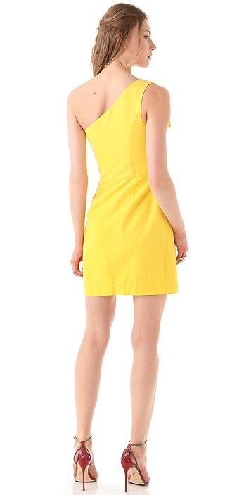 Shoshanna Sadie One Shoulder Ruffle Dress