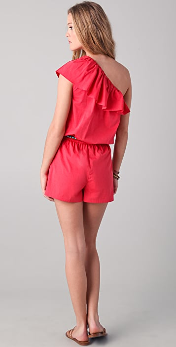 Shoshanna Ruffle One Shoulder Romper