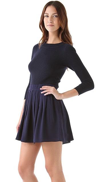 Shoshanna Combo Pleated Sweater Dress