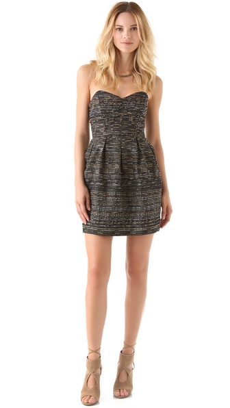Shoshanna Jane Strapless Jacquard Dress