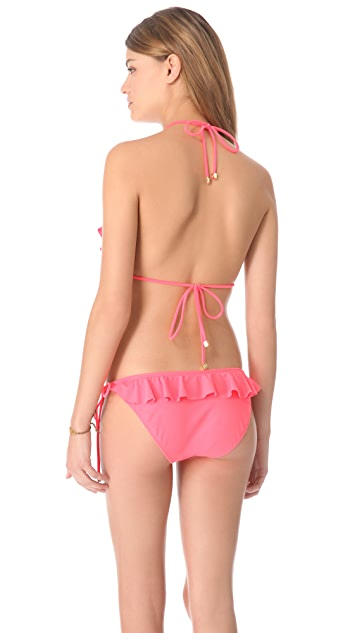 Shoshanna Neon Ruffle Triangle Bikini Top