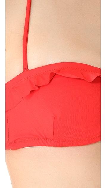 Shoshanna Persimmon Ruffle Bikini Top