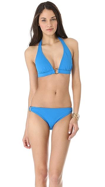 Shoshanna Turquoise Pique Bikini Top