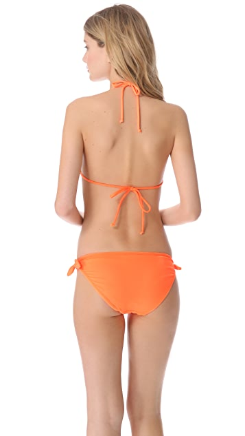 Shoshanna Neon Orange Halter Bikini Top