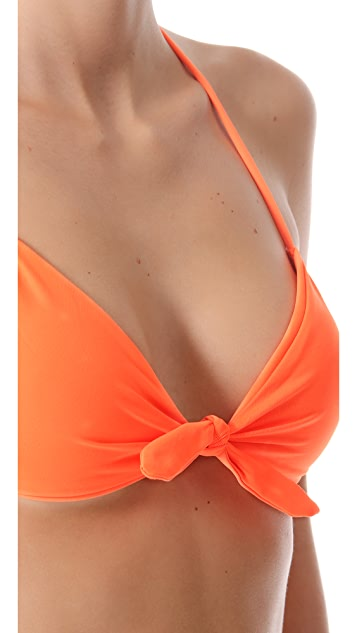 Shoshanna Neon Orange Halter Bikini Top