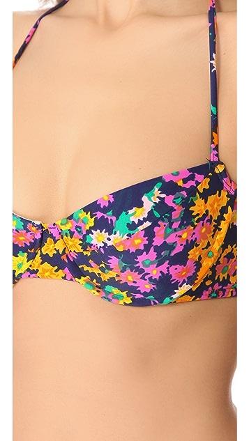 Shoshanna Watercolor Floral Bra Cup Halter Bikini Top