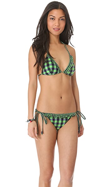 Shoshanna Green Gingham Ruffle Bikini Top