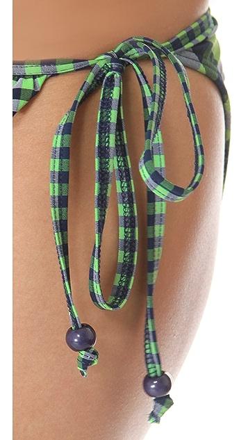 Shoshanna Green Gingham Ruffle Bikini Bottoms