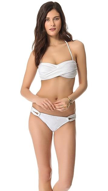 Shoshanna Texture Twist Bandeau Bikini Top