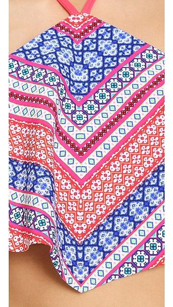 Shoshanna Chevron Tapestry Handkerchief Halter Top
