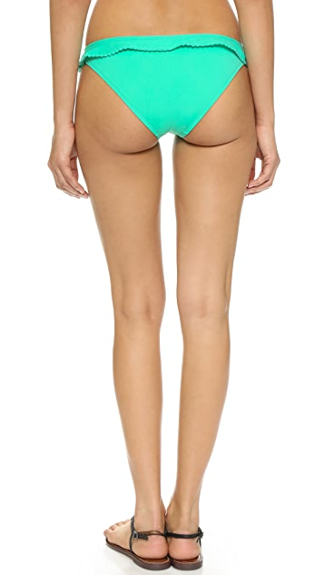 Shoshanna Mint Pom Pom Ruffle Bikini Bottoms