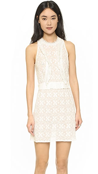 Shoshanna Embroidered Open Back Dress