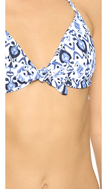 Shoshanna Caspian Ikat Tie Bikini Top