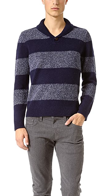 Shipley & Halmos Earnest Striped Shetland Sweater