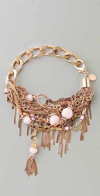 Sid Vintage Jewelry Multi Chain & Coral Bracelet