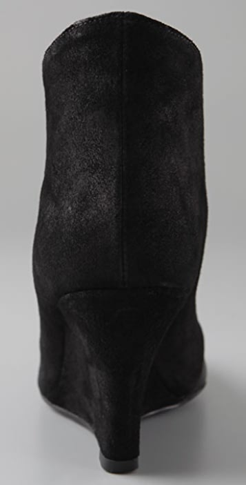 Sigerson Morrison Peaked Wedge Booties with Patent Toe