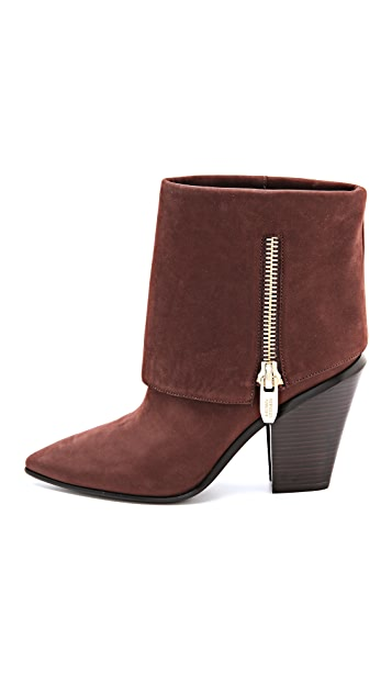 Sigerson Morrison Ilse Chunk Heel Booties with Side Zip Detail