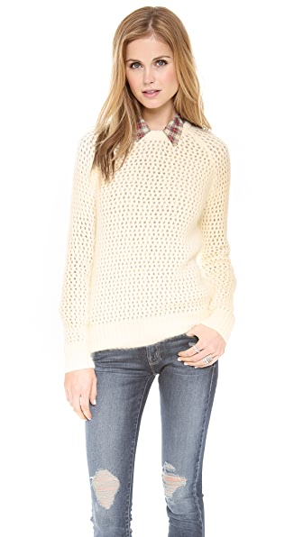 SHAE Open Stitch Fuzzy Sweater