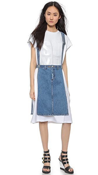 SJYP Open Side Denim Apron Skirt - Light Blue