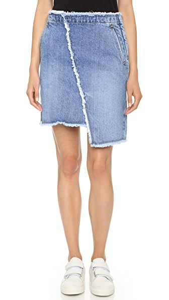 SJYP Unbalanced Denim Skirt