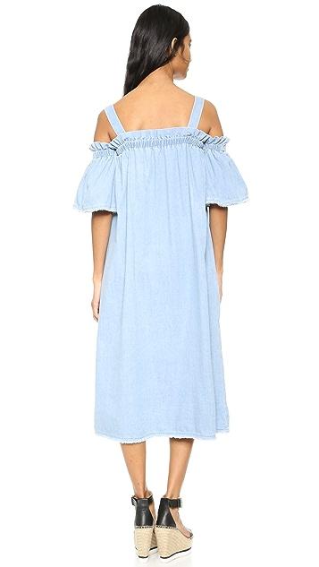 SJYP Denim Off Shoulder Dress