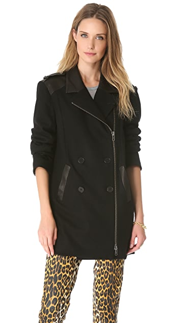 Skaist Taylor Boyfriend Jacket with Leather Trim