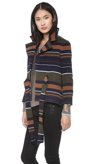 Skaist Taylor Wool Coat with Fur Collar