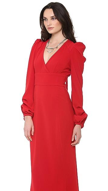 Skaist Taylor Pleated Long Sleeve Gown