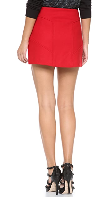 Skaist Taylor Seamed Wool Skirt