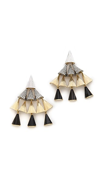 Sarah Magid Agate Pave Cone Chandelier Earrings