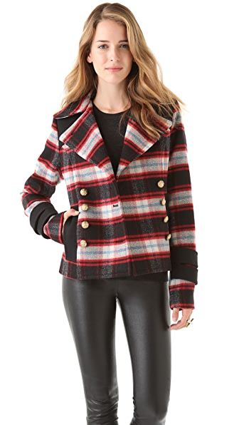 SMYTHE Plaid Pea Coat