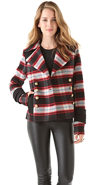 SMYTHE Plaid Pea Coat