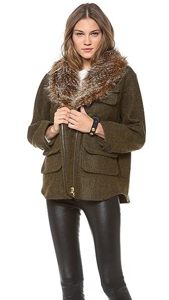 SMYTHE Flak Jacket with Faux Fur Collar