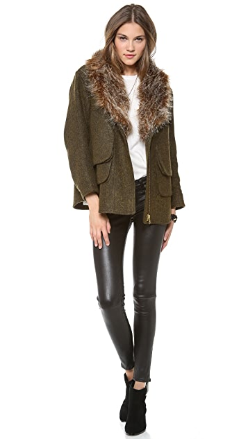SMYTHE Flak Jacket with Faux Fur Collar