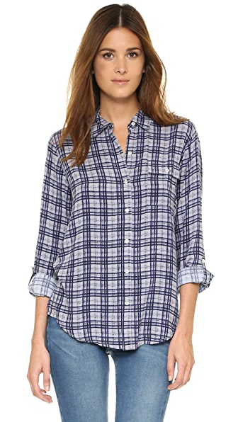 Soft joie onyx button down shirt shopbop for Soft joie plaid shirt