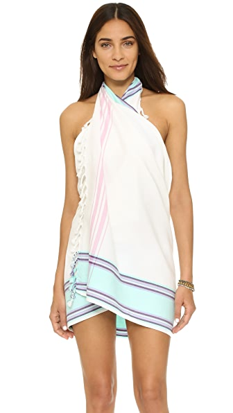 Soleil Woven Beach Blanket Pareo Skirt - White/Turquoise/Pink