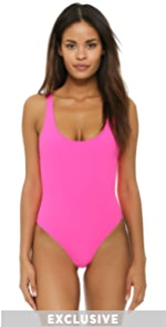 The Anne Marie One Piece Solid  Striped