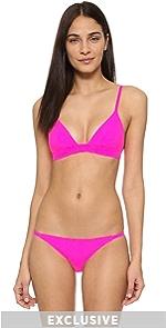 The Morgan Bikini Top Solid  Striped