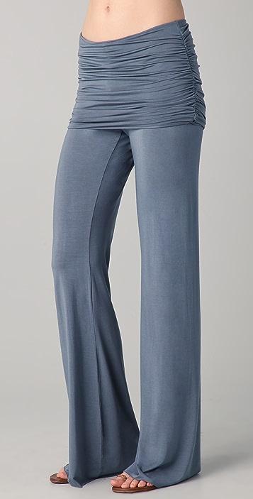 SOLOW Shirred Waist Wide Leg Pants