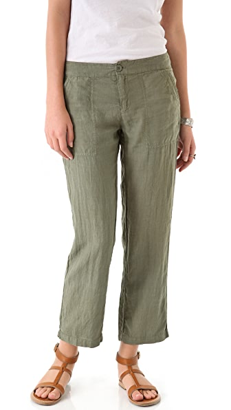 SOLOW Linen Cropped Pants with Pockets