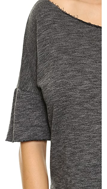 SOLOW Hi-Low Pullover with Raw Edges