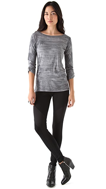 SOLOW Boat Neck 3/4 Sleeve Top