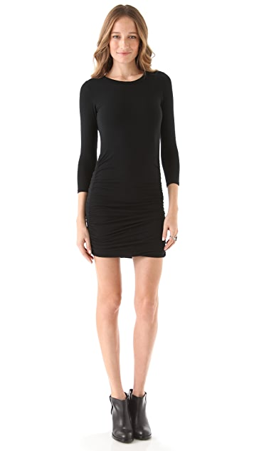 SOLOW Shirred Dress with Keyhole