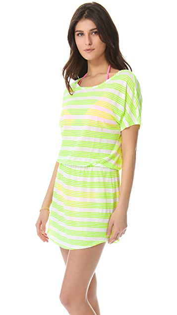 SOLOW Neon Stripe Cover Up Dress