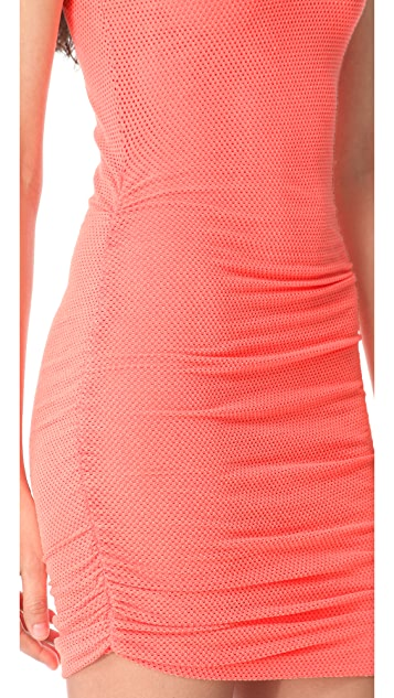 SOLOW Shirred Mesh Muscle Dress
