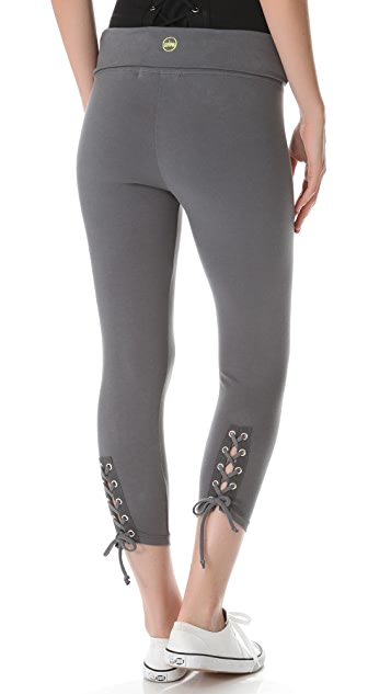 SOLOW Back Lace Cropped Leggings