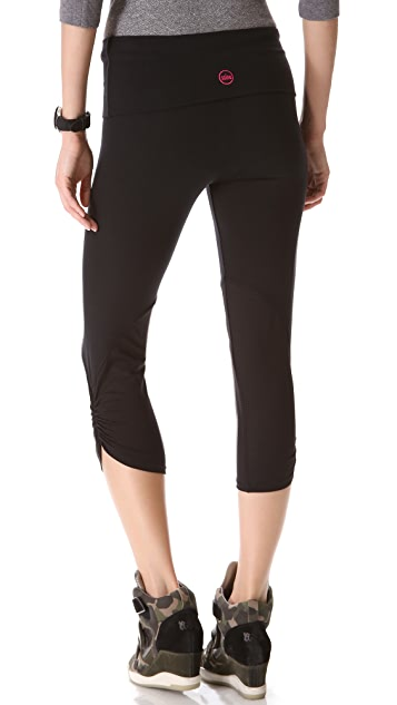 SOLOW Fold Over Leggings with Tonal Mesh